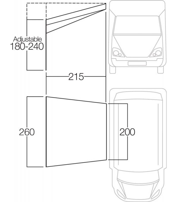 Vango 2m Sun Canopy on Motorhome sizes