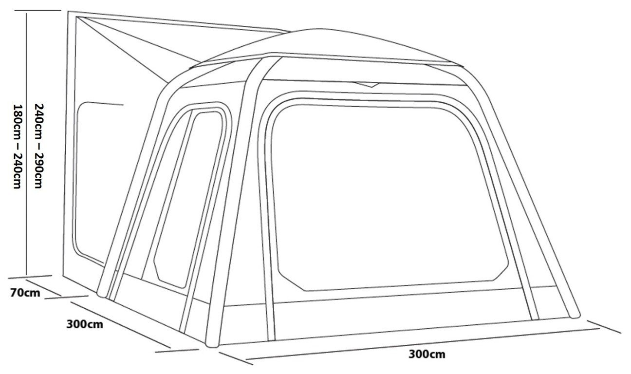 2017 Outdoor Revolution MoveAirLite Classic Awning Dimensions