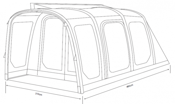 2017 Outdoor Revolution Movelite T4 Lowline Airbeam Driveaway Awning Dimensions