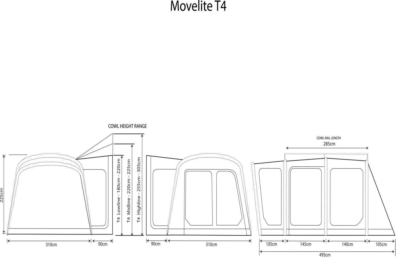 2018 Outdoor Revolution Movelite T4 Highline Airbeam Driveaway Awning Floorplan