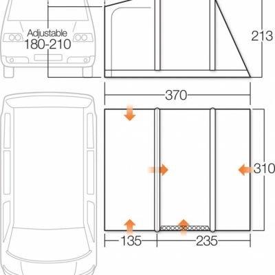 Vango Airbeam Kela IV Low Driveaway Awning 2018 Floorplan