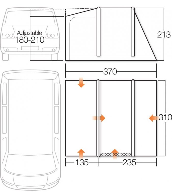 Vango Airbeam Kela IV Low Driveaway Awning 2018 Floorplan