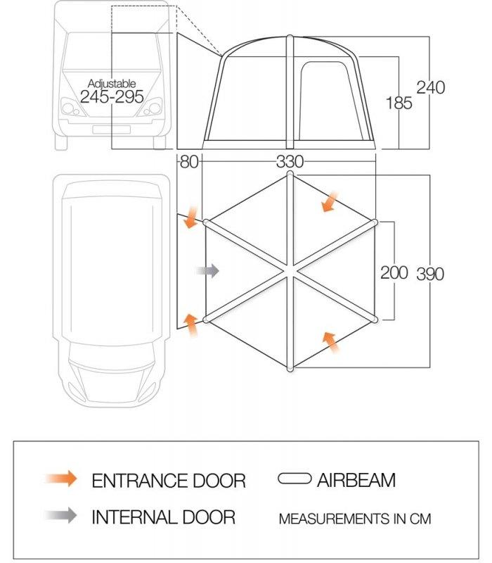 Vango Airhub Hexaway Hex Tall Driveaway Awning floorplan