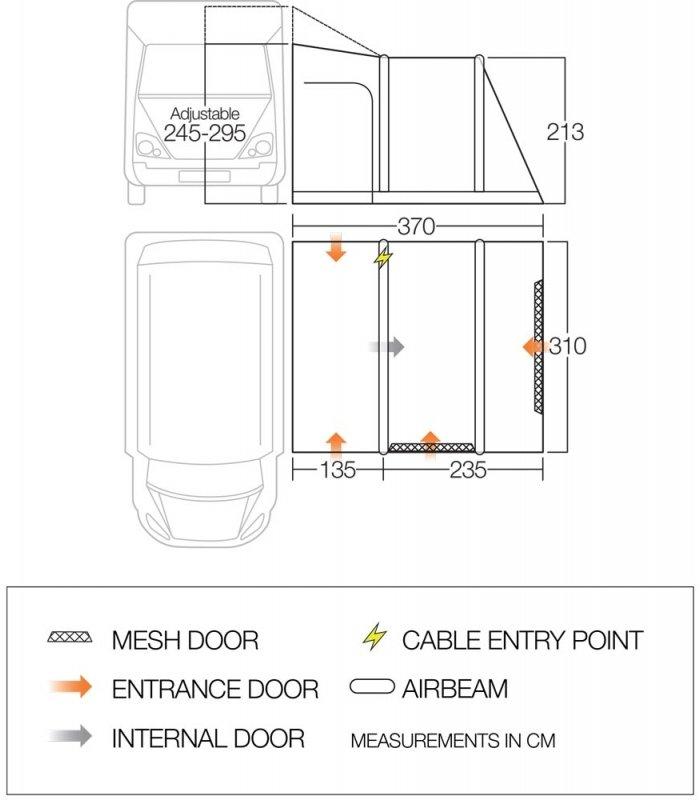 Vango Airbeam Kela V Tall Driveaway Awning floorplan