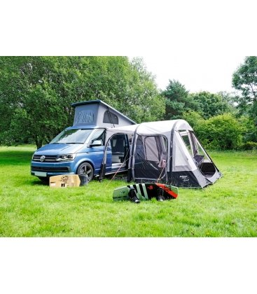 Vango Airbeam Kela IV Low Driveaway Awning 2018 Bundle attached outside