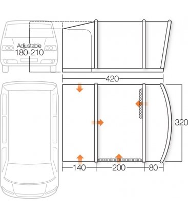 Vango Cruz II Low Driveaway Awning 2018 plan