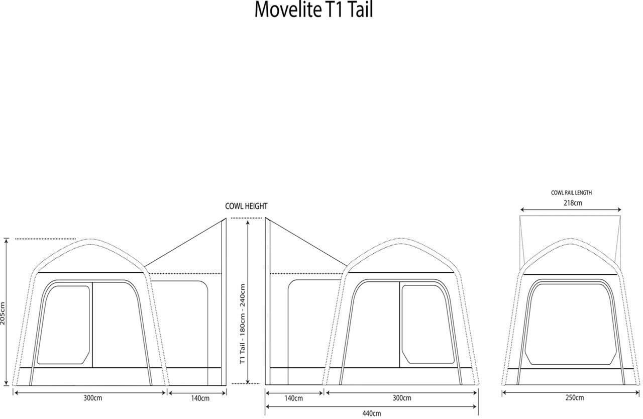 Outdoor Revolution Movelite T1 Tailgate Tail Airbeam Driveaway Awning 2018