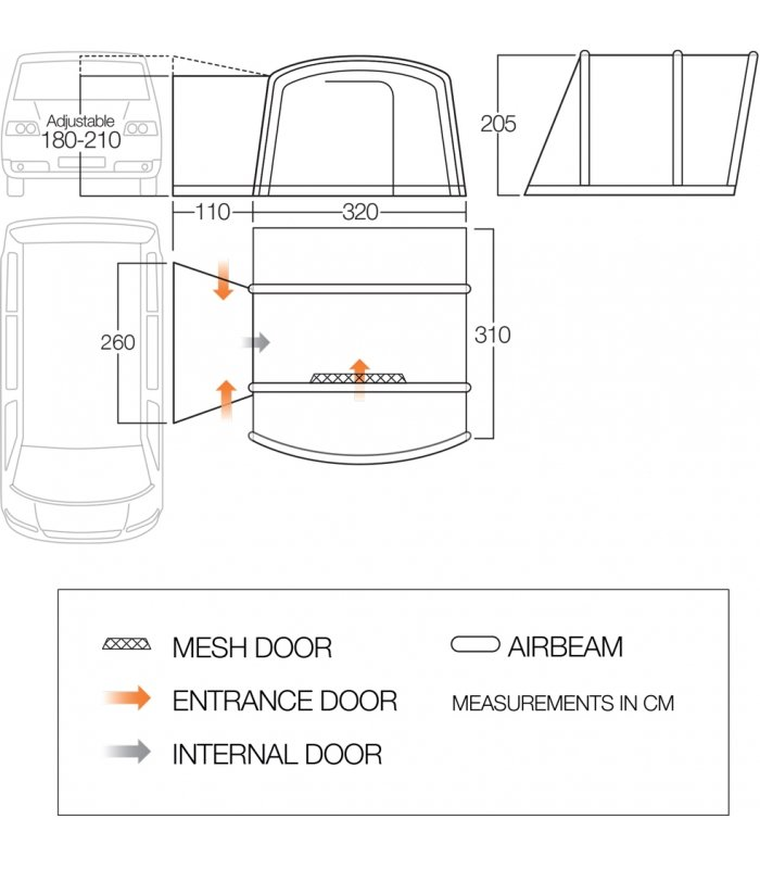 Vango Airbeam Cove Low Driveaway Awning floorplan