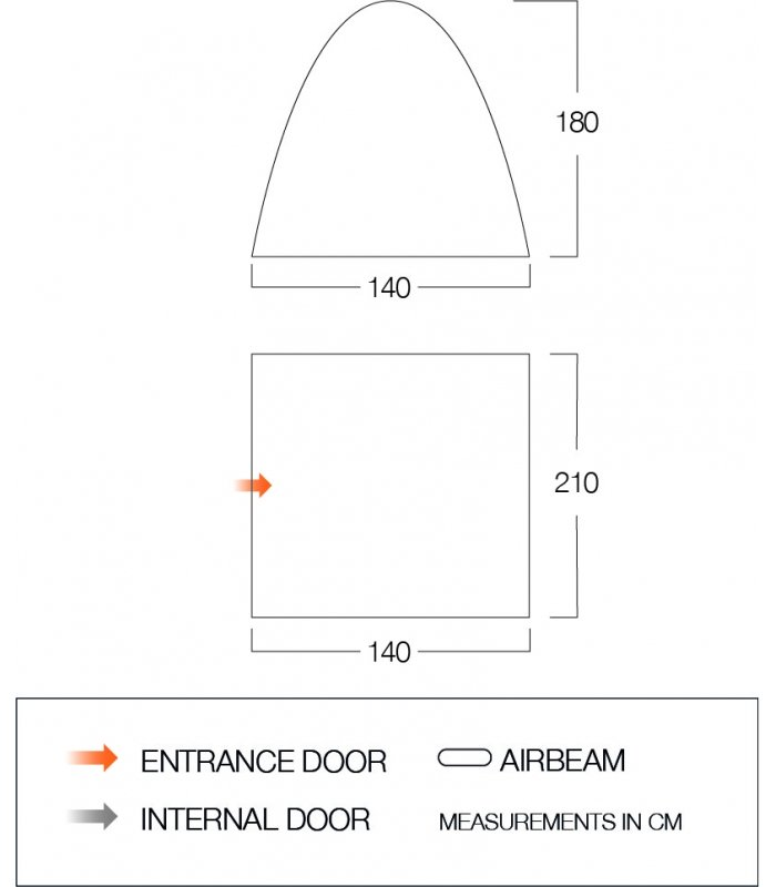 Vango Drive-Away Awning free-standing Bedroom floorplan