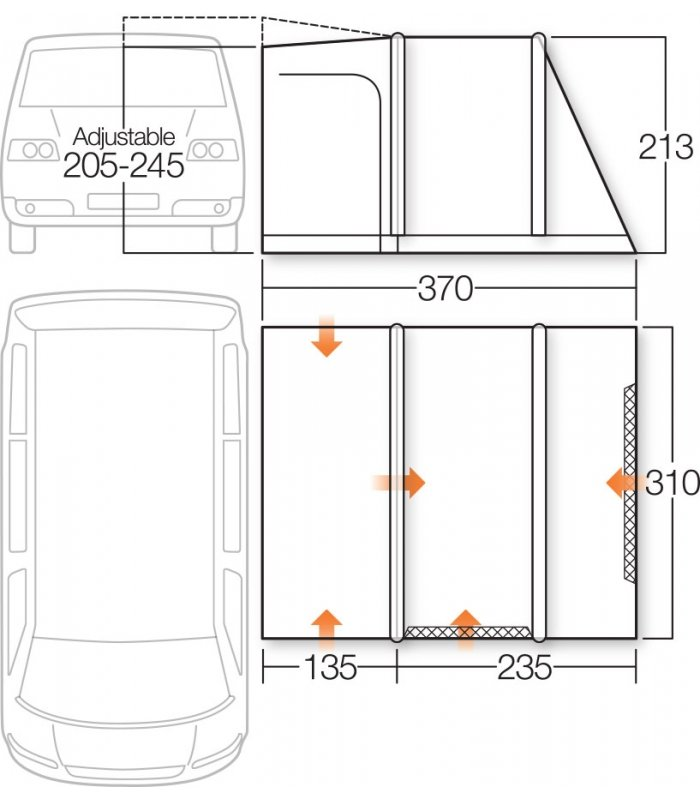 Vango Airbeam Kela V Std. Driveaway Awning floorplan