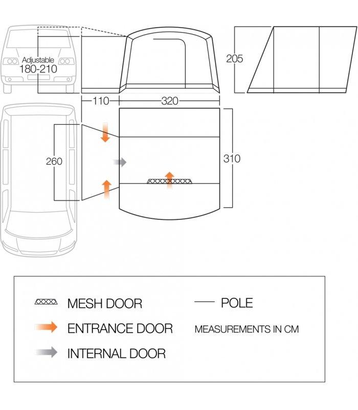 Vango Noosa Low Driveaway Awning Floorplan
