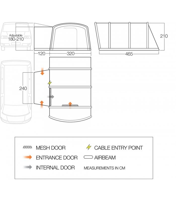 Vango Galli III Low Driveaway Awning floorplan